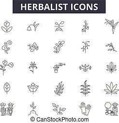 herbalist, esboço, jogo, ícones, illustration:, vector., sinais, linha, herbalist, conceito