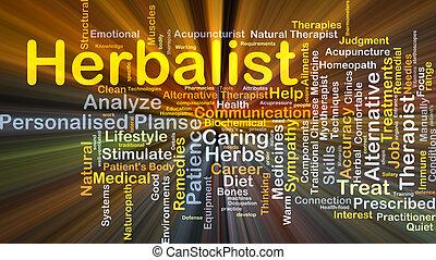 herbalist, glowing, conceito, fundo