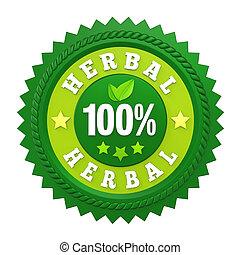 herbario, 100%, insignia, aislado, etiqueta