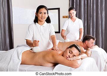 herbario, balneario, tailandés, masaje