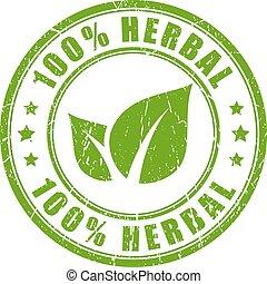 herbario, caucho, natural, estampilla