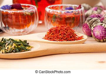 herbario, natural, floral, té, infusión, con, seco, flores