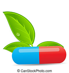 herbario, píldora, icon.environment, plano de fondo, vector, ilustración