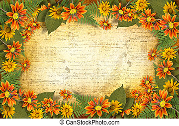 Herbarium of flowers and leaves on the floral background ...