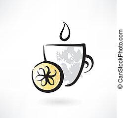 herbata, cytryna, grunge, ikona