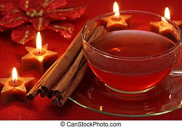 herbata, gorący, zima
