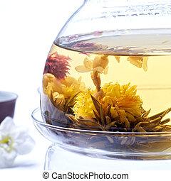 herbata, igła, jaśmin, szczegół, kwiaty, srebro