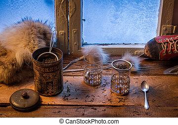 herbata, na, niejaki, przeziębienie, dzień, w, zima