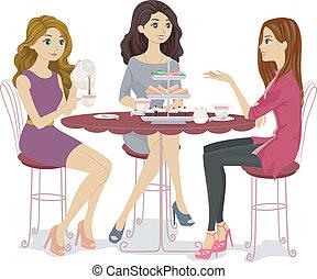 herbata, przyjaciele, partia