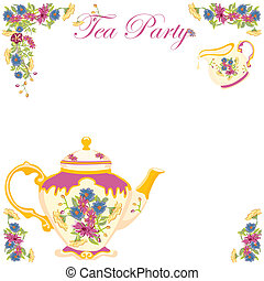 herbata, wiktoriański, garnek, partia, zaproszenie