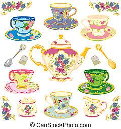 herbata, wiktoriański, komplet