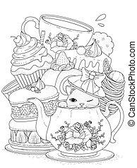 herbata, wyroby cukiernicze, kot
