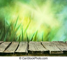 herbe, à, table