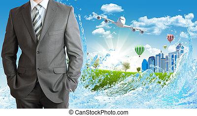 herbe, bâtiments, vert, hommes affaires, avion