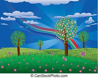 herbe champ, arbre, fleurir