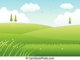 herbe champ, cartoon.eps