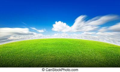 herbe champ, ciel, vert