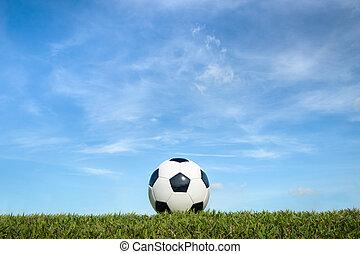 herbe, ciel, balle, fond, football, nuage