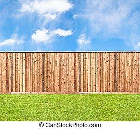 herbe, clôture bois