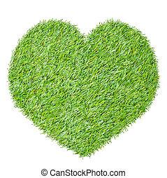 herbe, coeur, blanc, vert, isolé