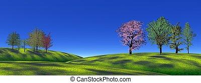 herbe, collines, arbres