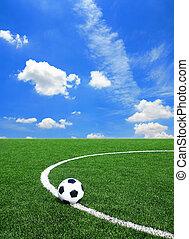 herbe, football, texture, champ, vert, football