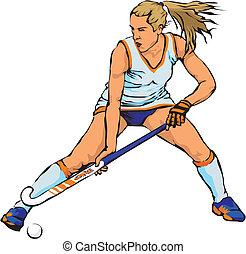 herbe, hockey, femmes