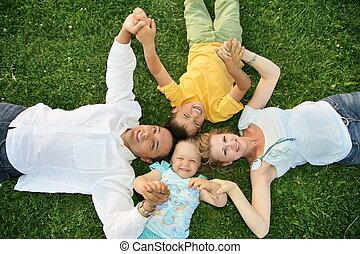 herbe, mensonge, famille