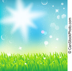 herbe, naturel, paysage, lumière soleil