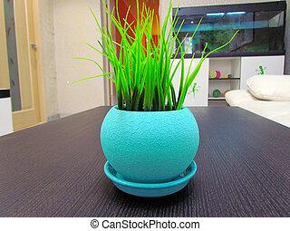 herbe, naturel, pot, apparence, couleur, artificiel, forme, beige, a, rond