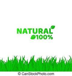 herbe, naturel, projects., text., blanc, cent, illustration, ton, arrière-plan., vecteur, endroit, vert, product., frais, 100, natural., original