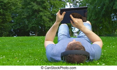 herbe, pc, tablette, homme, mensonge, summertime.