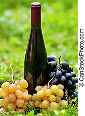 herbe, raisins, bouteille, vin