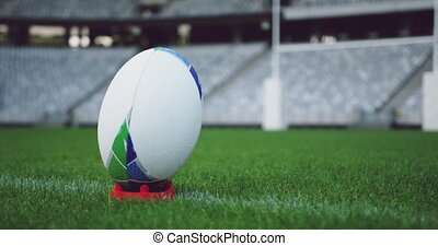 herbe, rugby, stade, balle, 4k