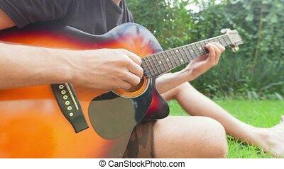 herbe, séance, jouer, homme, guitare