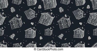 herbe, seamless, blanc, frontière, modèle, maisons, lignes, toit, fond, bois, scandinave, noir
