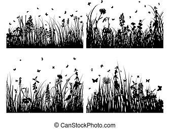 herbe, silhouettes, ensemble