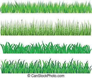 herbe, vert, éléments