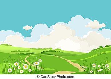 herbe, vert bleu, ciel