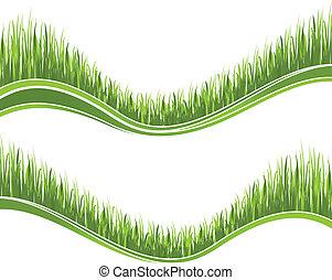 herbe, vert, deux, vagues