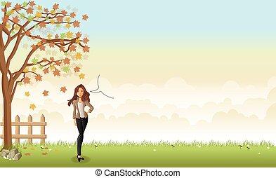 herbe verte, paysage, à, a, beau, dessin animé, woman.