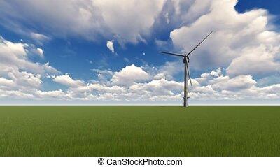 herbe verte, turbines, vent