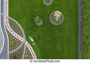herbe, vue, métier, yard, résidentiel, fauchage, devant, aérien, jardin