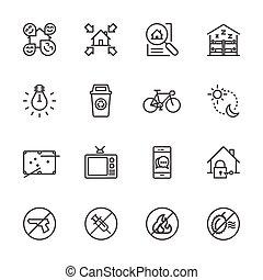 herberge, &, hotel, ikone, set., reisender, und, backpacker., vektor, linie, ikone