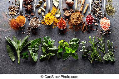 herbes, épices, graphite, planche