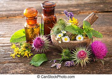 herbes, bouteilles, guérison, teinture
