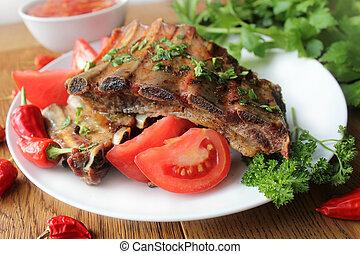 herbes, côtes, délicieux, barbecue