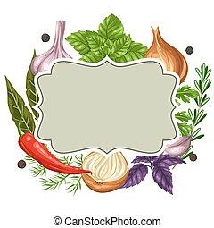 herbes, cadre, épices, divers, conception
