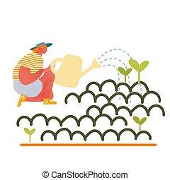 herbes, caractère, fleurs, plat, illustration, serre, ...