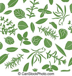 Herbes de Provence seamless pattern vector set
